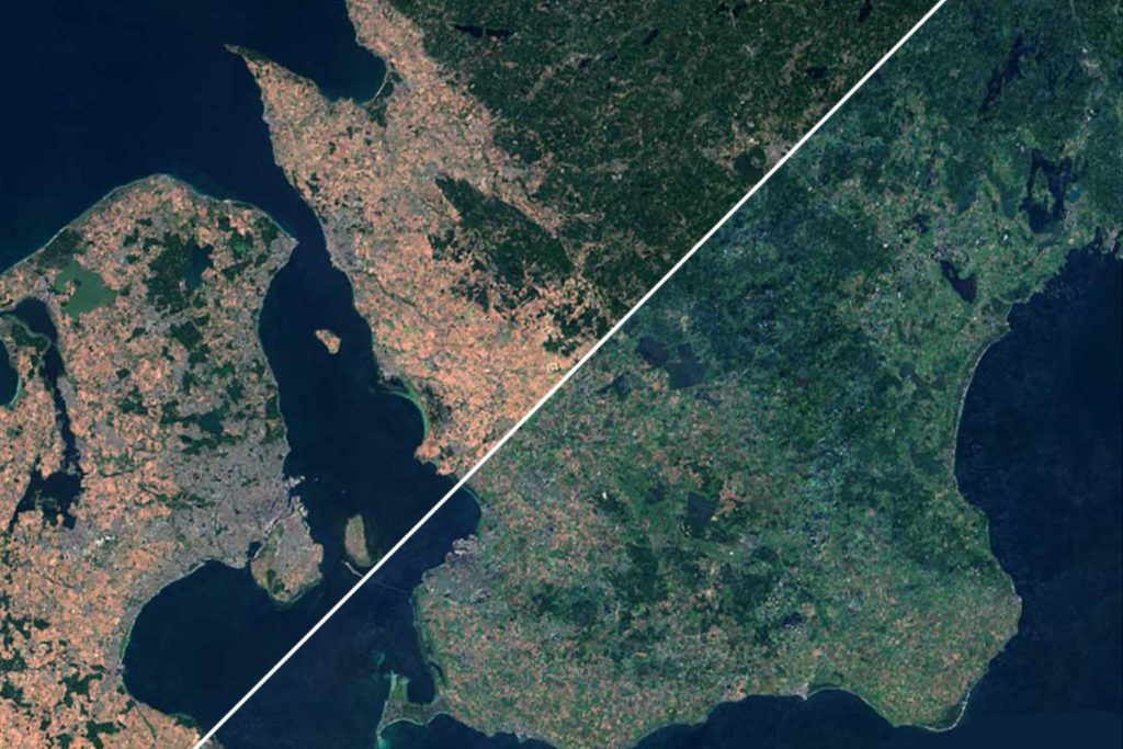 Foto: Rymdstyrelsen/Copernicus Sentinel data 2017' and 2018' for Sentinel data/Google